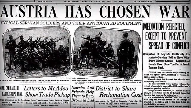 Àustria declara la guerra a Sèrbia.
