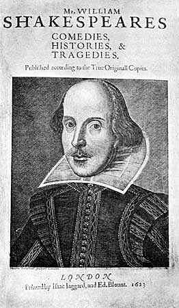 John Heminge and Henry Condell publish thirty-six Shakespeare plays in the First Folio