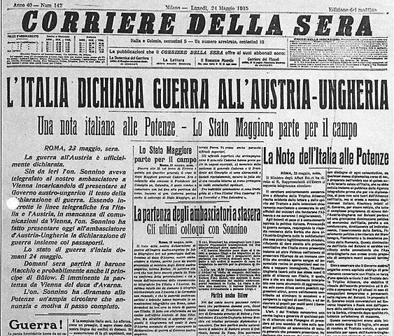 Itàlia declara la guerra a l'imperi austrohongarès.