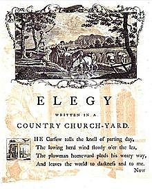 English poet Thomas Gray publishes his Elegy written in a Country Church Yard