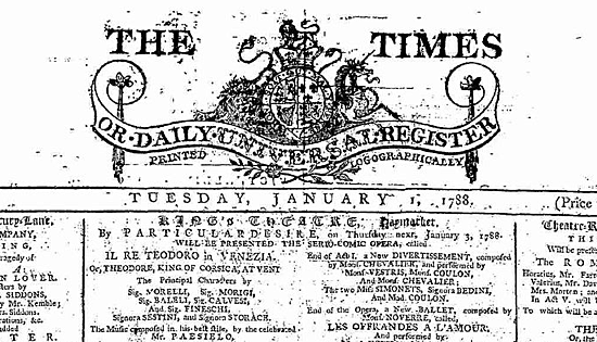 """First publication of """"The Times""""."""
