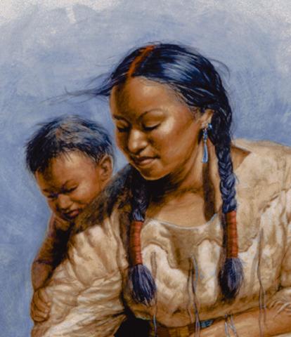 Sacagawea gives birth to a baby boy, Jean Baptiste