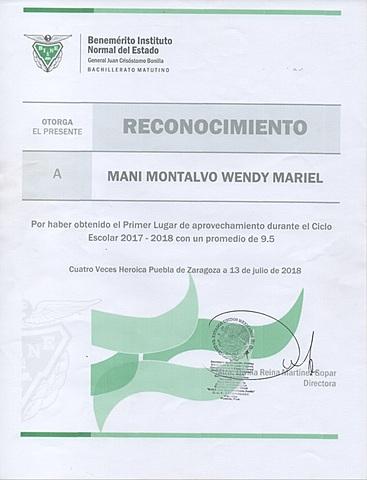 RECONOCIMIENTO DE TERCERO DE BACHILLER