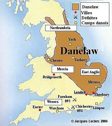 Danelaw established, dividing Britain into Anglo-Saxon south and Danish north