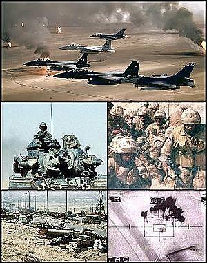 Guerra del Golfo (conflicto bélico librado por una fuerza de coalición autorizada por las Naciones Unidas, compuesta por 34 países y liderada por Estados Unidos, contra la República de Irak en respuesta a la invasión y anexión iraquí del Estado de Kuwait)