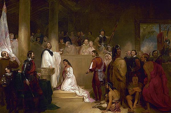 Pocahontas Converting to Christianity