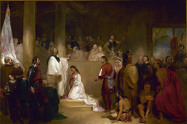 Pocahontas Convents to Christianity