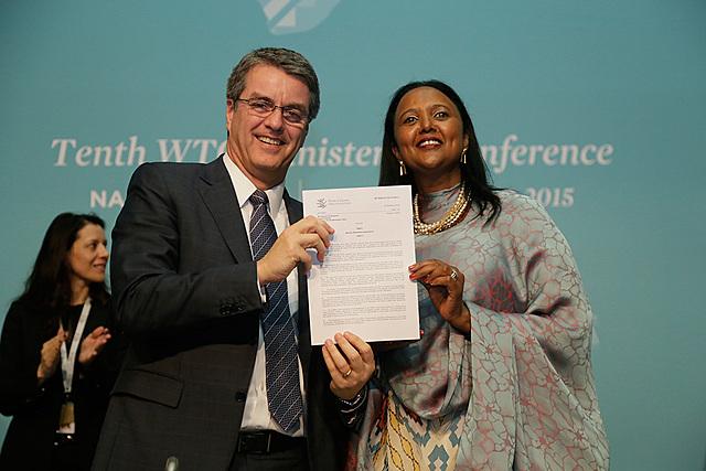 Diciembre de 2015. La Décima Conferencia Ministerial de la OMC se celebró en Nairobi (Kenia) del 15 al 19 de diciembre de 2015.