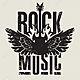 51946789 banner para la música rock con la guitarra eléctrica con las alas en el fuego