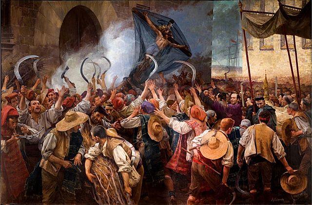 Las rebeliones comienzan en la Península (Andalucía, Cataluña y Portugal).