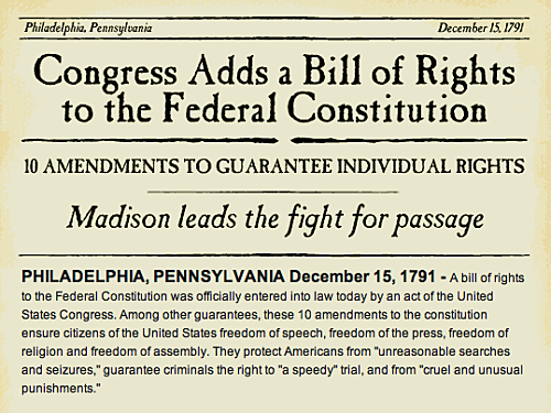 James Madison writes first 10 amendments to the Constitution, the Bill of Rights