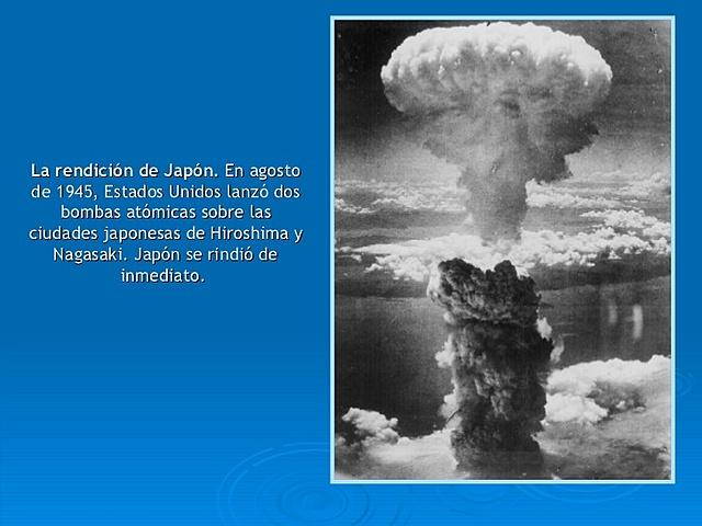 Estados Unidos lanza una bomba atómica en Nagasaki.