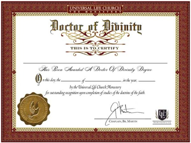Award Doctor of Divinity
