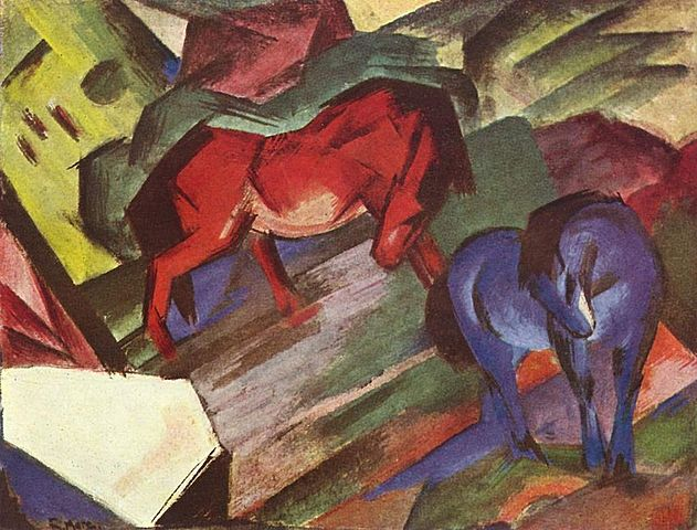 rood en blauw paard