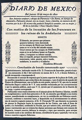 """Aparece el primer periódico de publicación diaria, """"El Diario de México""""."""