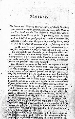 John C Calhoun Secretly Authors the South Carolina Exposition and Protest