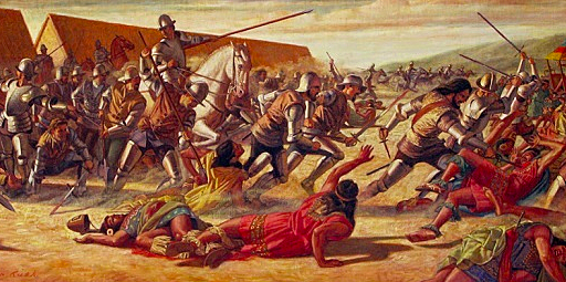 Cortez defeats the Aztecs and claims the land for Spain. Mexico City will be built on the same spot as Tenochtitlan.