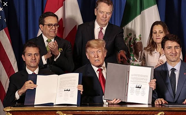 The US, Canada and Mexico reach a new trade deal - the United States-Mexico-Canada Agreement (USMCA) - to replace the North American Free Trade Agreement (Nafta).