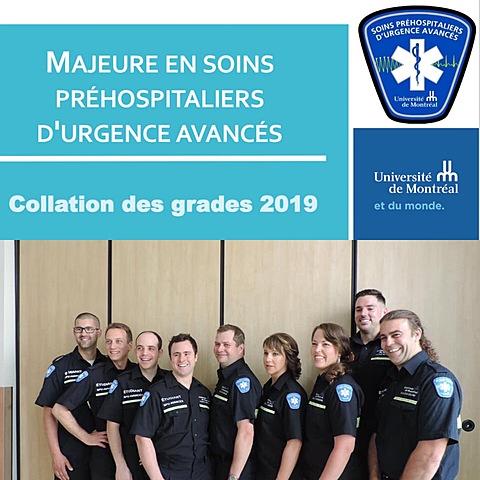 Graduation de la 2e cohorte de la majeure en soins préhospitaliers d'urgence avancés de la faculté de médecine de l'Université de Montréal.