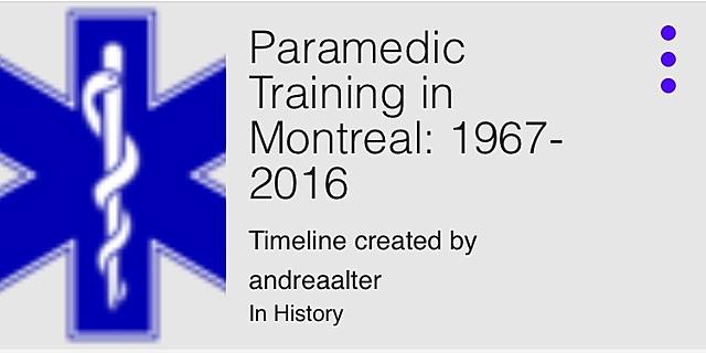 Timeline 1967 à 2016 de Andreaalter sur la formation des soins préhospitaliers d'urgence au Québec.