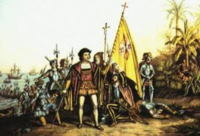 Christopher Columbus reached the Caribbean islands.