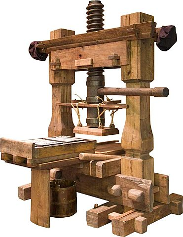 Printing press using wood blocks- 220 AD