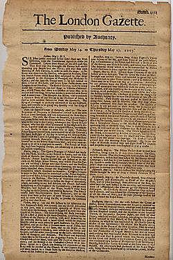 Newspaper- The London Gazette- 1640s