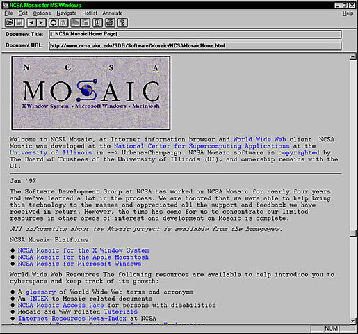 Web Browser (Mosaic)- 1993