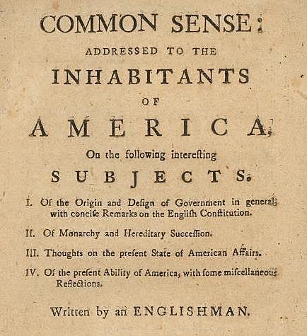 Thomas Paine published Common Sense