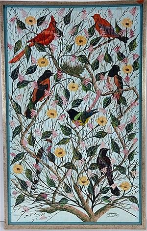 Haíti (Variety Of Songbirds In Blooming)