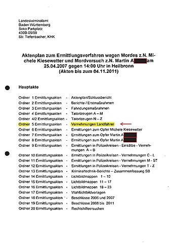 (II) Akten aus dem Prozess um den Polizistenmord um Michèle Kiesewetter