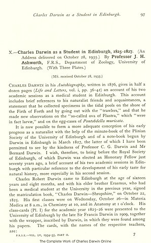 Charles Darwins First Scientific Findings and Speech
