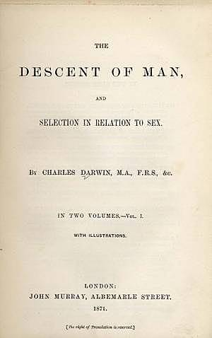 """Charles Darwin publishes """"The Desent of Man"""""""