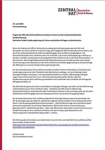 Fragen der AfD nach Sinti und Roma in Sachsen