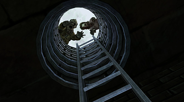 Escaping into the sewers.
