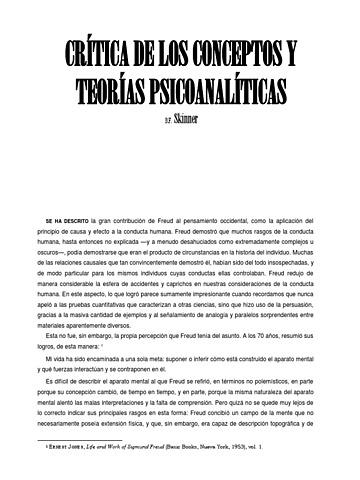 """Skinner - """"Crítica a los conceptos y teorías psicoanalíticos"""""""