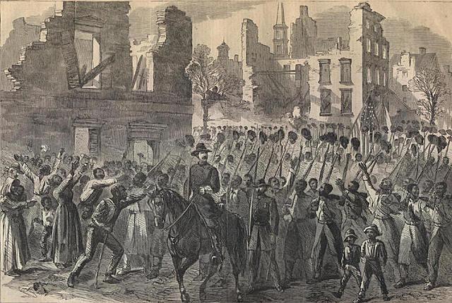 General Sherman's troops enter Charleston, South Carolina.
