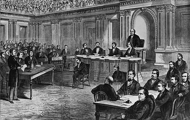 Having infuriated the Republicans, Andrew Johnson becomes the first president to be impeached by a house of Congress, but he avoids conviction and retains his office by a single vote