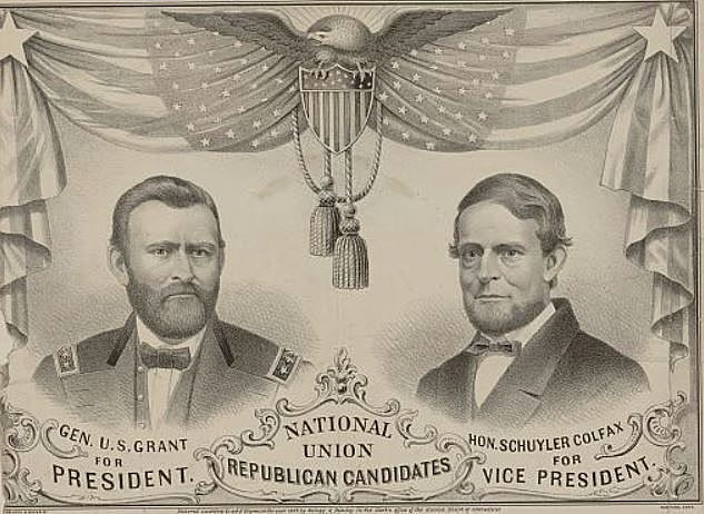 """The Republican National Convention at Chicago nominates Grant for president and Schuyler Colfax of Indiana for vice president; Grant adopts the conciliatory slogan, """"Let us have peace."""""""