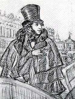 "Кустодиев Б. М.  (1878-1927) ""А.С.Пушкин на набережной Невы"""