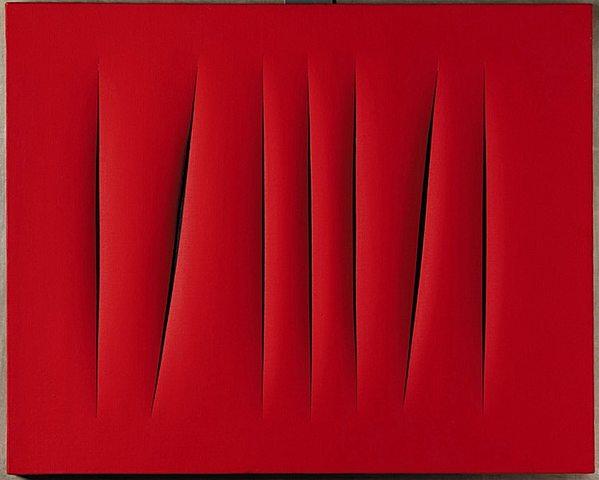 Informalistas: Cuadro rojo (Lucio Fontana)