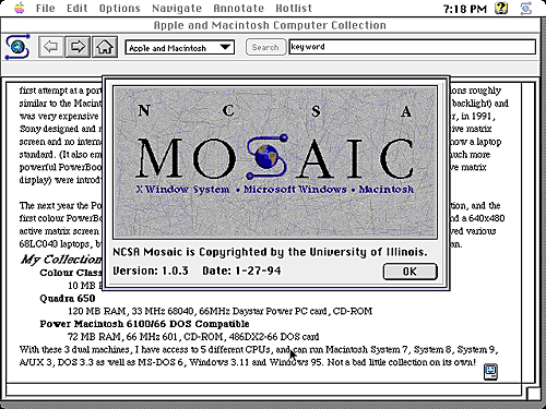 Mosaic devient le premier navigateur du web.