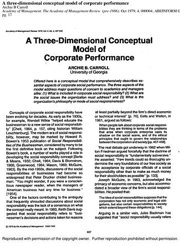"Archie B. Carrol publicó ""A Three-Dimensional Conceptual Model of Corporate Performance"""