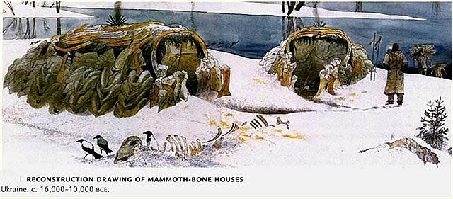 Structures with mammoth bones