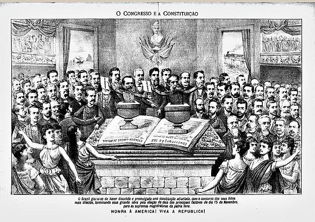 1891 - Promulgada a 2° constituição brasileira / Deodoro é eleito oficialmente pelo congresso, depois renuncia e assume Floriano Peixoto