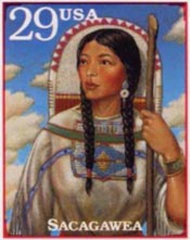 Toussaint Charbonneau and Sacagawea.