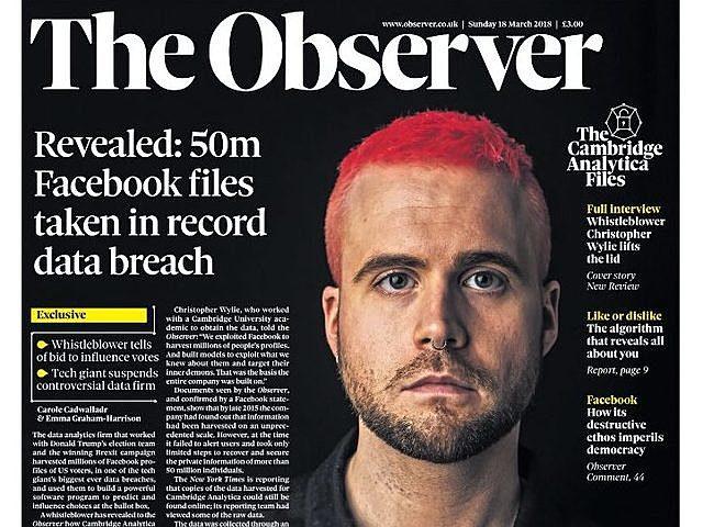 Informes de The New York Times y The Guardian (The Observer) revelan cómo Cambridge Analytica, que trabajó con la campaña de Donald Trump en las elecciones de 2016 y obtuvo los datos de millones de usuarios de Facebook.