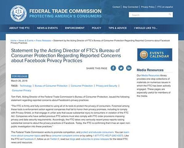 La Comisión Federal de Comercio (FTC) inicia una investigación.