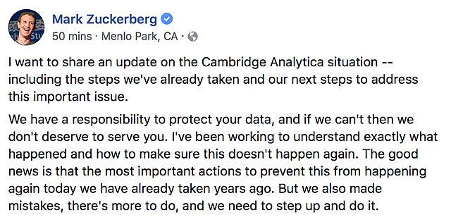 Mark Zuckerberg, el CEO de Facebook, finalmente habla.
