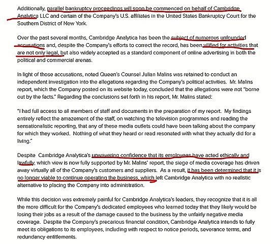 Cambridge Analytica anuncia en un comunicado que cerrarán.